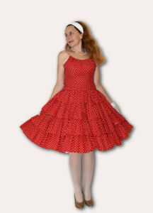 ~*FABULOUS VINTAGE RED 1950s POLKA DOT FULL CIRCLE COTTON PARTY DRESS/FROCK XS*~