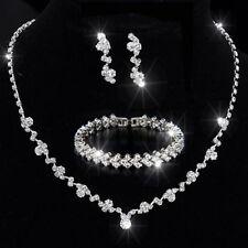 Bridesmaid Crystal Necklace Earrings Bracelet Set Wedding Bridal Jewellery Gifts