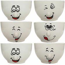 Gesicht Schalen Set 6 teilig Porzellan 500 ml Müslischüssel Salatschale Schüssel