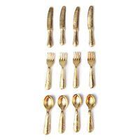 1/12 Puppenhaus Miniatur Edelstahl Geschirr Set 12 Stueck Gold GY