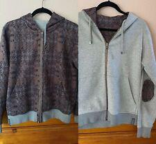 CAPOBIANCO Reversible Hoodie Zip Up Jacket Sz 48 Men gray print