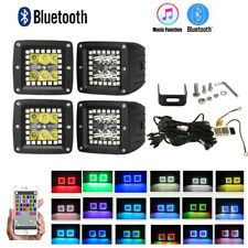 "4x 3"" Inch 30W Bluetooth Rgb Chasing Halo Led Work Light Bar Spot Off Road Lamp"