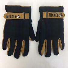 The Disney Store Mickey Mouse Gloves Adult Medium Leather Plaid Wool Loop & Lock
