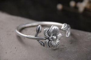 B25 Bracelet Fleur Feuillage Argent Fin 999