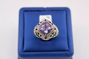 Greg Anthony 18k Yellow Gold & 925 Sterling Silver Amethyst Fancy Ring