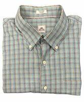 Peter Millar Men's Shirt, Plaid Button Down, 100% Cotton, Size XL, Blue Brown