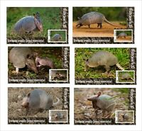 2020 ARMADILLO  6 SOUVENIR SHEETS UNPERFORATED  WILD ANIMALS