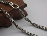 21.6 inch Pure 925 Sterling Silver Necklace 5mm Rope Link Chain Necklace S925