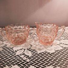 vintage set Jeanette Depression Glass PINK Cubist / Cube SUGAR & CREAMER