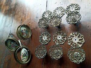6x Vintage Pulls Handles Knobs & 3x Antique Brass Enamel Ceramic Rococo handles