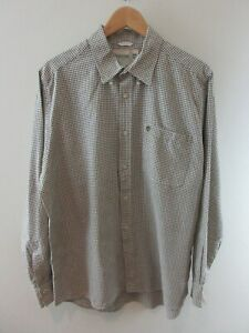 Timberland Mens Shirt Size L Long Sleeve Button Up Regular Fit Brown White Check