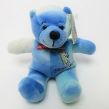 "2001 Symbolz New York State Pride Bear Blue Tie Dyed Bean Bag Plush Animal 7"""