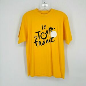 Le Tour De France Offical TShirt Yellow Cotton Workout Cycling Adult Size S