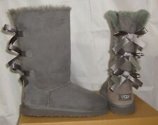 UGG BAILEY BOW TALL Grey Triplet Suede Boots Youth Size US 4, fit Women's 6 NEW