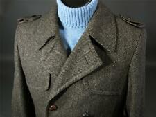 Vtg YORKSHIRE HILL Tweed Top Coat Wool Trench 38R Brown Double Breasted, Belted