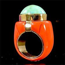 VINTAGE SEAMAN SCHEPPS 18K GOLD CORAL MATRIX TURQUOISE CABOCHON RING SZ 6.25