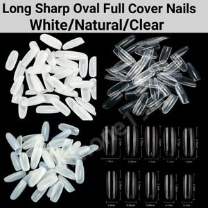 100/600Pc Long Sharp Oval Full Cover Artificial French False Nail Tips Jargod