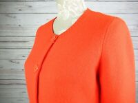 Seasalt Cornwall Deluxe Knit Wool Orange Collarless Cardigan Pockets Size 10