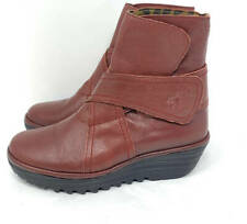 New~FLY London Leather Wedge Ankle Boots~Rada~37~6.5  7~Cordoba Red