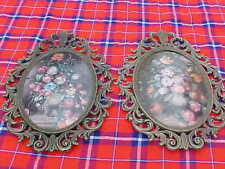 2 Vintage Ornate Metal Oval Picture Frames Bubble Dome Glass 13� X 10� Floral