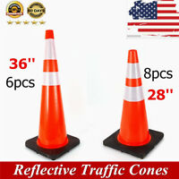 18/28/36 Inch Traffic Cones Safety Cone with Reflective Collars Road Parking PVC