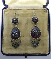 A Stunning Pair Of Cabochon Garnet & Rose Cut Diamond Fly Earrings Circa 1800's