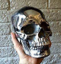 LIFE SIZE METAL SKULL - Human Skull Cast In SOLID METAL - Polished