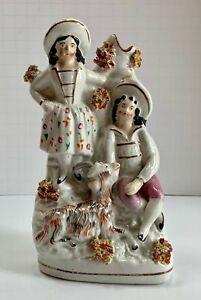 Antique Staffordshire Boy Girl Goat Spill Vase 19th Century