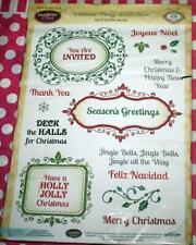 JustRite Clear   CHRISTMAS VINTAGE  LABELS SEVEN   Rubber Stamp   NIP  CR-02051