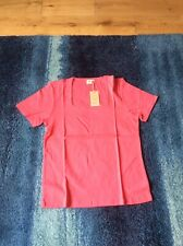 Cotton Traders Ladies Short Sleeve Square Neck Pink Top Size 18 New