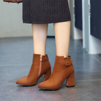 Womens Pointed Toe Suede Ankle Boots Block Heels Booties Fluff Lining Zip Shoes