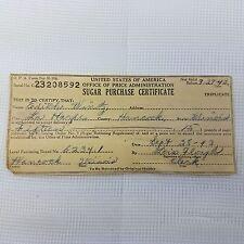 1943 Sugar Purchase Ration Certificate for 15 lb Sugar La Harpe Hancock Illinois