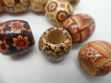 20 x Large Wooden Painted Barrel Beads~16mm long,17mm Thick~8mm Hole craft hobby