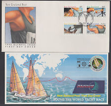 New Zealand Sc 1100-1103, 1198 FDCs. 1992 Barcelona Olympics + 1997 Yacht Race