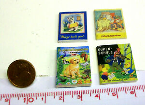 1826# Kleines Deko-Bücherset mit 4 Büchern - Puppenhaus - Puppenstube - M 1zu12