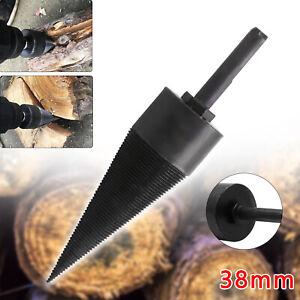 38mm Firewood Drill Bit Wood Cone Hex Shank Wood Log Splitter Screw Splitting UK