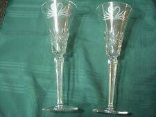Set of 2 Gorgeous Waterford Toasting Flutes-Champagne Glasses with Etched Swans
