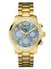 GUESS Women's U0330L13 Stainless Steel Gold-Tone Ice Blue Python-Print Watch