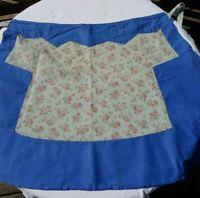 Vintage half Apron Farmhouse country blue rose cotton pockets flour feed sack