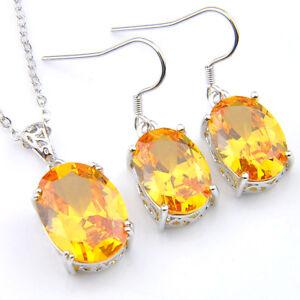 Gorgeous 2 pcs 1 Set Oval Golden Citrine Gems Silver Necklace Pendant Earrings
