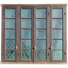 Antique Set Four Argentine Leaded Glass Cedro Mahogany Windows c. 1900