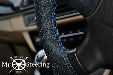 FOR PEUGEOT 206 98+ PERFORATED LEATHER STEERING WHEEL COVER LIGHT BLUE DOUBLE ST