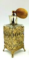 Vintage Gold Tone Filigree Perfume Atomizer Old Hollywood Regency Elegant 1950s