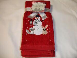 New! Set/2 Embroidered Christmas Snowman Friends Terry Cotton Fingertip Towels