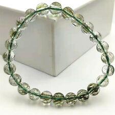 8mm Natural Green Rutilated Tourmilated Quartz Round Woman Beads Bracelet AAAA