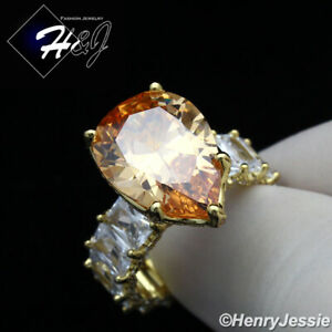 WOMEN 925 STERLING SILVER CHAMPAGNE PEAR SHAPED CZ GOLD ENGAGEMENT RING*GR129