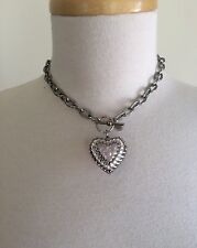 Tarina Tarantino Puffy Heart Pendant Chocker Crystals Lucite Toggle Necklace