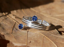 Sterling Silver Triple Wire Toe Ring w/ Swarovski Crystal Sapphires New Jewelry