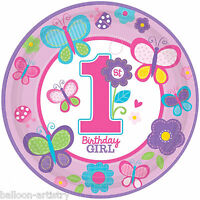 8 Sweet Pink Butterfly Girl's 1st Birthday Party Disposable 23cm Paper Plates