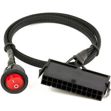"""CRJ 24-Pin ATX Red LED Power On/Off Switch Jumper Bridge Cable Black Sleeved 22"""""""